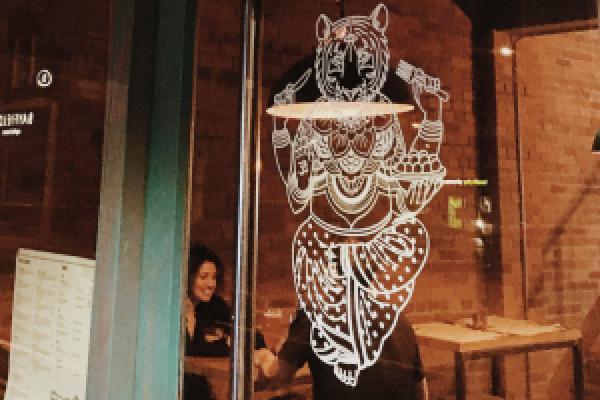 Cats Pyjamas Indian restaurant Headingley Leeds tiger graphic