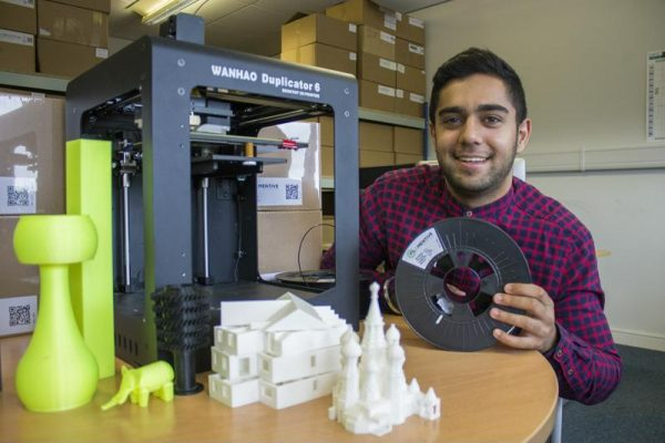 Ravi Toor, Founder of start-up business Filamentive with 3D printed models