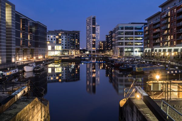 Leeds Dock landscape by night